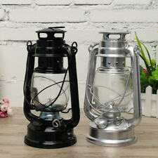 Retro Oil Lantern Garden Outdoor Kerosene Paraffin Hurricane Lamp Black/Silver