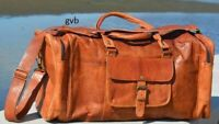 New Large Men's Leather Vintage Duffel Travel Luggage Weekend Gym Overnight Bag