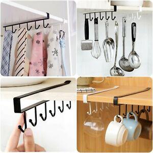 6 Hooks Metal Under Shelf Mug Cup Holder Cupboard Kitchen Organiser Hanging Rack