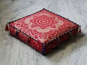18X18X4 Square Red Silver Mandala Floor Decorative Cushion Cover Seating Cushion