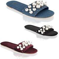 Womens Ladies Slip On Pearl Flat Sliders Summer Flip Flops Slipper Mules Sandals