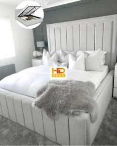 Plush Velvet Bordered Panel Bed With/Without Ottoman Gas Lift Storage On Sale !!
