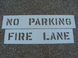 "4"" NO PARKING & FIRE LANE Parking Lot Stencils 4"" Letters x 3"" Wide 1/16"" LDPE"