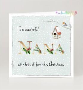 "Wonderful Nana Christmas Greeting Card, Winter Robin Theme, 6""x6"", Blank Inside"