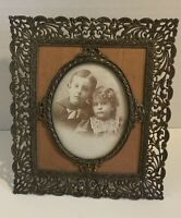 Antique Small Brass Ornate Victorian Picture Frame With Boy And Girl