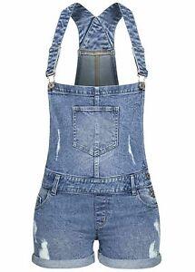 B21068230 Damen 77 Lifestyle Jeans kurze Latzhose Destroy Look blau denim