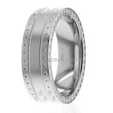 14K Solid Gold Stylish Flat Circle Wedding Bands Rings Mens Womens Wedding Rings