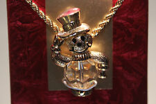Swarovski Savvy Collection Christmas Snowman Necklace Limited Edition Mint
