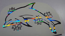 Holographic Ripple Flower Dolphin Vinyl Car Window Decal Sticker Fish Beach Sea