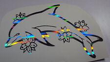 Holographic Ripple Flower Dolphin Vinyl Car Window Decal Sticker Fish Beach Sea