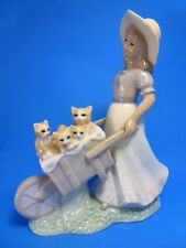 """9"""" LITTLE GIRL WITH A BARREL FULL OF KITTENS CATS PORCELAIN FIGURINE"""