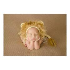 Newborn Lion Hat & Tail SET, Hand Knitted Bonnet Photo Prop Photography