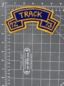 Vintage Varsity Letterman Jacket Track 72 73 Patch Chenille Felt 1972 1973 Blue