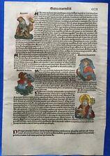 Altkoloriertes Blatt CCII, Schedel Weltchronik 1493, Nürnberg, HEILIGER THOMAS