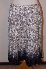 WHITE HOUSE/BLACK MARKET Black & White Pleats Lined Silk Skirt  Size M New ek