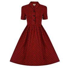 LINDY BOP DOROTHY RED/BLACK POLKA DOT DRESS SIZE UK 8 NEW