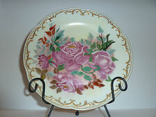 Tirschenreuth Porcelain Hand Painted Dinner Plate Bavaria Germany w/ Pink Roses