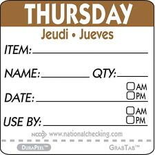 """Roll of 500 THURSDAY 2"""" x 2"""" Removable Trilingual Food Rotation Labels"""