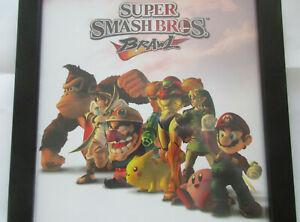 Super Smash Bros BRAWL Official Vintage Wii Print Ad Framed Promo Poster Mario