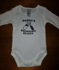 BOY OR GIRL long sleeve baby suit DADDY'S DRINKING BUDDY printed in AUSTRALIA