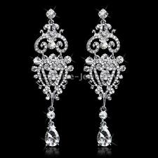Gorgeous Chandelier Sparkling Crystal Bridal Long Drop Earrings Wedding Jewelry
