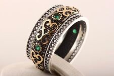 Authentic! Turkish Jewelry Emerald Topaz 925 Sterling Silver Ring Size 6