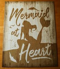 Mermaid At Heart Tin Sign Wood Plank Dolphin Beach Boardwalk Tropical Home Decor