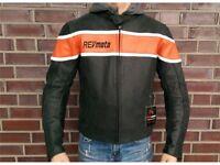 Motorrad Lederjacke Revmoto Nevada schwarz/orange Gr. XL
