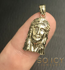 1.10 Grams Small Mens Ladies 10k Yellow Real Gold Jesus Face Charm Pendant