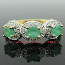 Genuine Natural Emerald Diamonds Solid 9ct Yellow Gold Engagement Wedding Ring