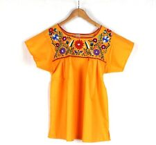 Hand Embroidered Yellow Blouse Made Mexico Boho Size Large STUNNING Quality