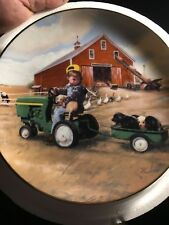 ***Little Farmhands Tractor Ride By Donald Solan Danbury Mint Collector Plate***