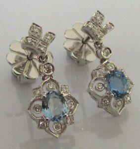 18ct Gold Earrings - 18ct Gold Aquamarine Diamond Drop Dangle Stud Earrings