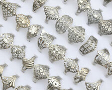 50pcs Wholesale Lot Jewelry Mixed Style Tibet Silver Vintage Hollow Rings Bulk N