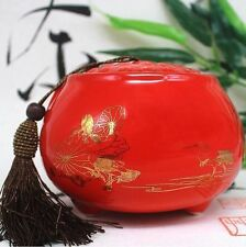 Dehua ceramic tea tea caddy Chinese red lotus leaf pattern tea container
