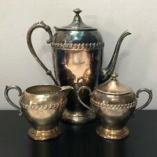 Vintage Silver on Copper Coffee Tea Serving Set Teapot Sugar Creamer