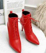 Women High-heel Pointed Lace-up Short Tube Pu Leather Ankle Boots Strappy Tide