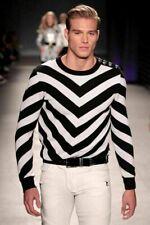 BALMAIN H&M MENS WHITE BLACK CHEVRON SWEATER JUMPER XS