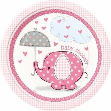 """PINK UMBRELLAPHANTS - 9"""" Plates [8], Baby Shower Party Girl,Tableware Decoration"""