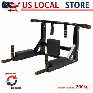 Heavy Duty Pull Up Dip Bar Dip Station Wall Mounted Leg Raise Home Gym Exercise