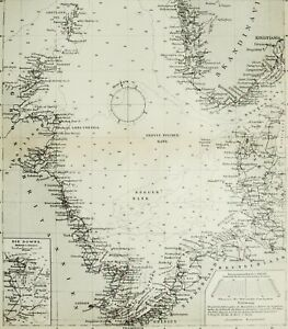 1895 Antique map of THE NORTH SEA. 125 years old chart