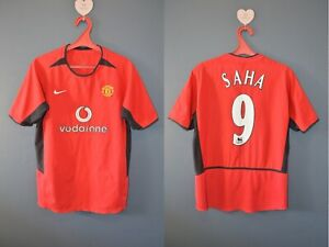 Manchester United Saha #9 2002/04 Home Vintage Soccer Jersey Mens Shirt S 4-/5