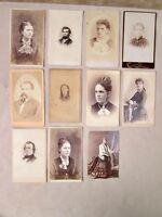 11 Vintage CDVs, MEN & WOMEN PORTRAITS,c.1860-90, MA. Photographers