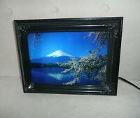 "Vintage Moving Picture Lamp W Sound Mt. Fuji Nature Scene 9"" x 12"" NEW"