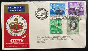 1953 Mauritius QE2 Coronation First DAy Cover Queen Elizabeth 2 Qantas Flight