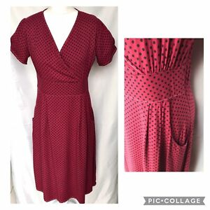 Cotton Traders Size 12 Dark Red Polka Dot '40's/ Vinty Style Dress Pockets