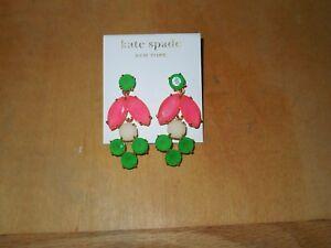 NIP Kate Spade Marquee Hot Pink/Green/White 14kt GF Dangle Earrings WBRU5644