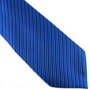 Donald Trump Signature Blue Tie Textured Striped Mens Silk Thick