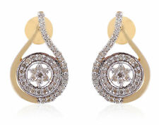 0.68 Cts Round Brilliant Cut Natural Diamonds Stud Earrings In Hallmark 14K Gold