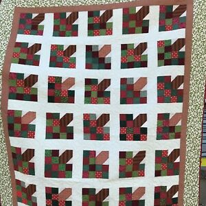 "Quilt Apple Tree Hand Pieced Never Used All Cotton 68"" x 90"" Fair Winner 2014"
